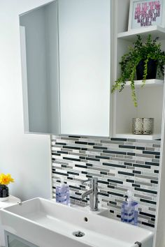 Replace pedestal sink with this and add medicine cabinet//IHeart Organizing: Reader Space: A Brilliantly Organized Bath