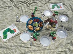 We had a very Hungry Caterpillar Picnic in the garden and as we read out the story, the children counted out their food pieces and sampled all the foods in the story. We discovered likes and dislikes, and also tried something new when we tried the Salami.