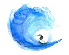 Art surf watercolor painting Poster print ocean illustration wave art coastal style beach house decor blue wall art surfing Malen Malerei Aquarell Surfer in WelleMalen. Watercolor Wave, Watercolor Paintings, Tattoo Watercolor, Watercolors, Nature Paintings, Watercolor Techniques, Simple Watercolor, Watercolor Fashion, Surf Kunst