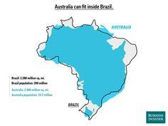 Australia cabe dentro de Brasil, América del Sur puede contener tres veces Europa y otras curiosidades visibles con mapas superpuestos