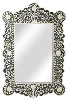 "Bone 24""x36"" Inlay Wall Mirror, Black $625.00"