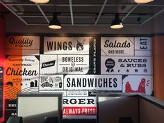 MYW customer Planet Wings designed a custom wall mural that ties into their restaurant's brand. Wings Restaurant, Restaurant Identity, Restaurant Design, Restaurant Restaurant, Cafe Design, Store Design, Menu Design, Design Design, Graphic Design