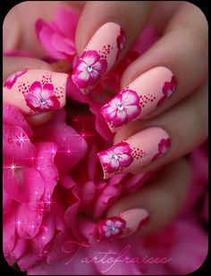 Pink One stroke Hibiscus nails nailart