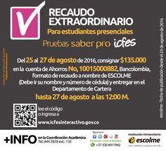 @Escolmeeduco ¡Se aproxima el Recaudo extraordinario para las pruebas saber pro!
