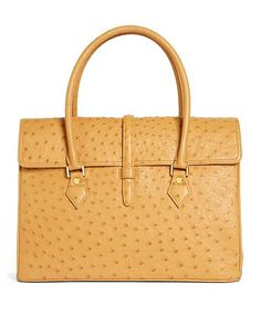 Ostrich Leather Large Satchel, this is an incredible bag in red.