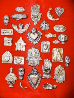 Cathy Dorris Studios: World Milagros or Ex Votos - Milagros are religious folk art charms. They are found in countries throughout the world. Religious Icons, Religious Art, Milagros Charms, Tin Art, Mexican Folk Art, Sacred Art, Heart Art, Altered Art, Art Drawings