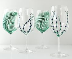 Garden Party Hand Painted Glasses 4 Piece by MaryElizabethArts