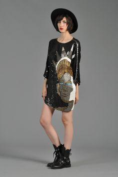 Asymmetrical Sequined Lady Liberty Mini Dress | BUSTOWN MODERN