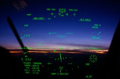heads up display | An approach to a landing as seen from inside the cockpit.