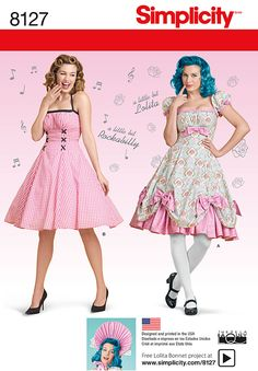Simplicity Simplicity Pattern 8127 Misses' Lolita and Rockabilly Dresses 8127