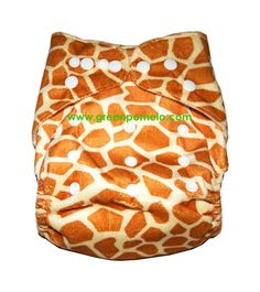 Snaps ~ Minky Giraffe  ~ Birth to Potty ~  ~ with Breathable Waterproof PUL Luxury Minky fabric outer layer ~   ~ comes with two super absorbent microfibre insert soakers ~