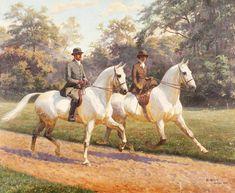 Untitled Equestrian Scene by Oskar Merte Classic Paintings, Beautiful Paintings, Arte Equina, Horse Portrait, Pencil Portrait, Horse Drawings, Vintage Horse, White Horses, Animal Paintings
