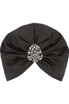 Jennifer Behr Swarovski crystal-embellished silk-satin turban   NET-A-PORTER