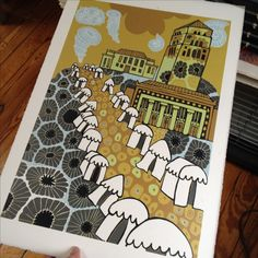 This woodcut was made for the Ann Arbor Street Art Fair in Michigan. I was honored to be the featured artist in 2016 and made them this woodcut that was used for all the promotional material! For me it is also a tribute to the city and to Michigan. I grew up about 30 minutes north of Ann Arbor and went there all the time as a teen for culture. I also would not be a festival artist today if it wasn't for my friends mom who did art festivals for a living. My Friends Mom, Petoskey Stone, Ann Arbor, Modern Wall Art, Art Festival, Art Fair, Festivals, Michigan, Street Art