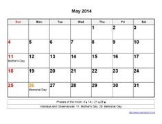 Printable Calendar 2014 May Templates
