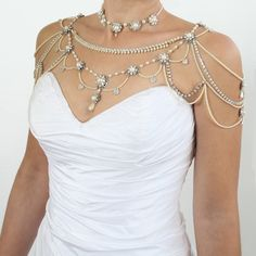 Necklace For The SHOULDERS,Victorian Style,Beaded Pearls And Rhinestone Style. $1,500.00, via Etsy.