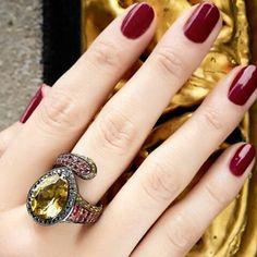 Vibrant warm colors in this gobsmacking citrine cocktail ring by -- new designer online Black Diamond Jewelry, Diamond Gemstone, Gemstone Rings, Warm Colors, Cocktail Rings, Colored Diamonds, Ring Designs, Birthstones, Diamond Engagement Rings