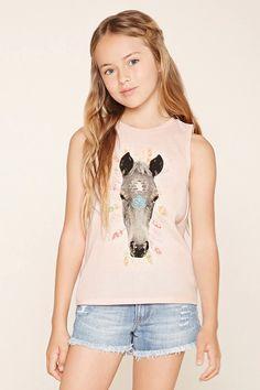 Girls Horse Graphic Top (Kids) #f21kids