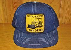 JOHN DEERE Denim Trucker Hat Capitol Tractors Dealer Original Vintage 80s at HatsForward