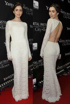 Lily Collins dress white