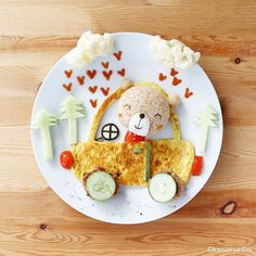 It's a beary lovely day, fun food: bear driving car with cauliflower clouds, cucumber trees Cute Food, Good Food, Yummy Food, Breakfast Appetizers, Creative Food Art, Food Art For Kids, Cute Bento, Food Artists, Dessert For Dinner