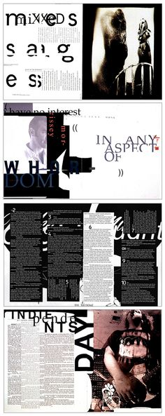 David Carson - Ray Gun layouts - like the contrast from black and white type David Carson Work, David Carson Design, Graphic Design Posters, Graphic Design Typography, Graphic Design Inspiration, Poster Designs, Editorial Layout, Editorial Design, Magazine Page Layouts