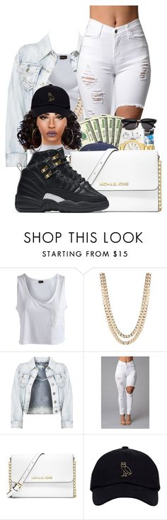 """""""gold"""" by ballislife ❤ liked on Polyvore featuring Pieces, BaubleBar, MICHAEL Michael Kors and NIKE"""