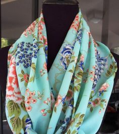 Floral Scarf, Mint, Light, chiffon, floral women scarf, women accessories, shawl, bohemian clothing, boho