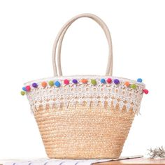 Big Tote Bags, Tote Purse, Purses And Bags, Crossbody Bag, Women's Bags, Straw Beach Tote, Straw Tote, Handmade Bags, Leather Handle