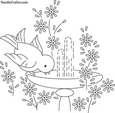 bird hand embroidery patterns - Google Search