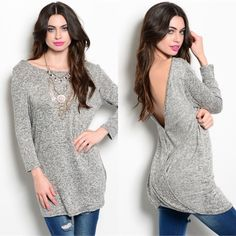 The PIPER speckled drop back top - GREY HP 3/27% polyester. Super soft 3/4 quarter sleeve top. ALSO AVAILABLE IN MINT. ‼️️NO TRADE‼️ Tops
