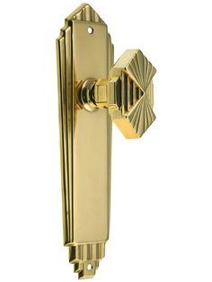 Art Deco Door Set In Unlacquered Brass.