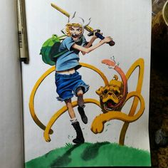 Jake the Dog and Finn the Human. Step 3. Pretty Self explanatory. Just markers and shit. Really fun. The boot detail is lost but I'll scan when I decide what do to with BG. Prolly won't be able to touch this for a couple weeks or so, but it's nice to at least get the more challenging shit done. Sorry for the shitty photo, my phone ain't doing me justice at all right now. #adventuretime #jake #finn #cartoon #chaseconley #saintchase #design #illustration #animation #mar...