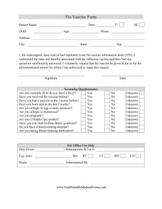 This Flu Shot Consent Form Is Designed To By Given Out By Medical  Professionals And Completed