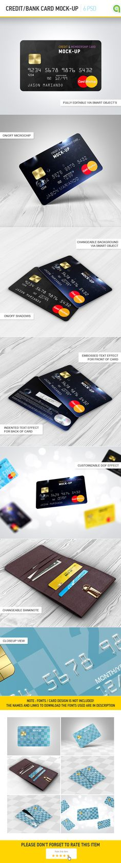 A particularly useful Bank card mock up that lets you put your designs on the credit card. This mockup useful for previewing bank card, credit card and bonus cards design.  Learn more about the benefits of this Credit / Bank Card Mockup on graphicriver.net