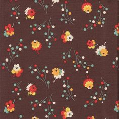 Denyse Schmidt Flea Market Fancy - Posie, Brown - $10.50 per yard