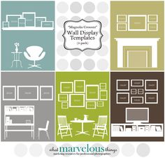 "Photo Wall Display Templates  - ""Magnolia Crescent"""