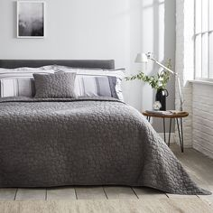 Soft Grey Bedroom, Charcoal Grey Bedrooms, Bedding Master Bedroom, Bedroom With Ensuite, Blue Bedroom, Master Bedrooms, Gray Bedspread, Black Bedding, Grey Room Decor
