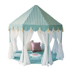 The Pavilion Play Tent was made to share those magic moments decorated with tassels and white cotton curtains embroidered with colorful dragonflies. Finished with a lightly padded floor quilt (included) which is appliquéd with a central lotus flower. Indoor Playhouse, Build A Playhouse, White Cotton Curtains, Sheer Curtains, Childrens Play Tents, Childrens Playhouse, Kids Tents, Kids Corner, Play Houses