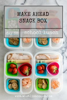 This is just a simple lunchable style snack box with lots of little  goodies. They all have some kind of cheese, a strawberry, an orange, and  some rice crackers. Two have a rolled up slice of turkey, and two have mini  hot dogs. Three have tomatoes and the fourth child that doesn't like  tomatoes has some yogurt covered raisins.