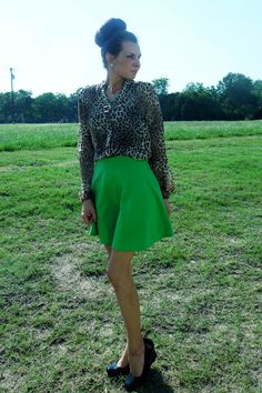 Green & Leopard Combo.  Follow my blog for more outfits! #beautybrawler