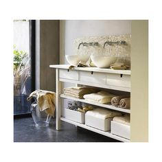 Home Sweet Home / Ikea Norden table hacked = bathroom vanity found on Polyvore
