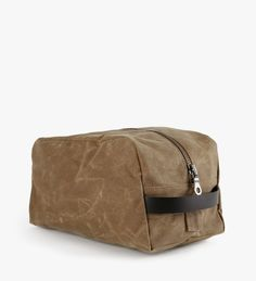 Waxed Dopp Kit by Welcome Stranger. A travel essential. Constructed in water repellent waxed canvas with cordura lining to keep your goods dry.