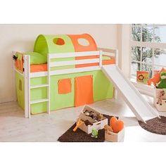 Halfhoogslaper met glijbaan Manuel - massief grenen - wit gelakt - kleur groen-oranje - zonder tunnel