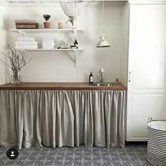 Tvättstuga Utility Cupboard, Flower Room, Future House, Laundry Room, Shabby Chic, Curtains, Interior Design, Bathroom, Kitchens