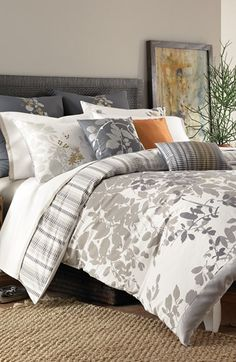 So in love with this soft grey color palette & that gorgeous bedside painting!