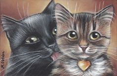 Black & Tabby Cats Valentines Painting