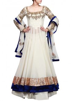 Cream anarkali lehenga embellished in resham and french knot only on Kalki