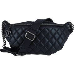 Pre-Owned Chanel Black Quilted Classic Fanny Pack Waist Bag ($2,499) ❤ liked on Polyvore featuring bags, black, quilted leather bag, waist fanny pack, leather waist bag, leather bags and belt bag
