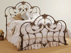 wrought iron bed brame. add a splash of color to the bedding and yes.